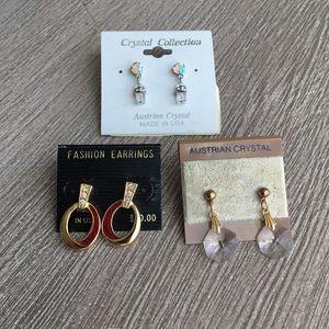 Vintage earring set (three), original packaging.